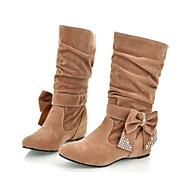 baratos Sapatos Femininos-Mulheres Sapatos Pele Nobuck Primavera / Outono Conforto / Inovador / Curta / Ankle Botas Salto Plataforma Dedo Apontado Botas Cano Médio
