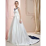 Linha A Princesa Decote V Cauda Corte Cetim Vestidos de noiva personalizados com Miçangas Bordado de LAN TING BRIDE®