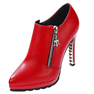 Women's Shoes PU Winter Basic Pump Heels Stiletto Heel Pointed Toe For Casual Red Black