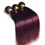 Virjin Orta Dalgalı Malezya Saçı Ombre Düz Saç uzatma 3 Parça Siyah / Koyu Şarap