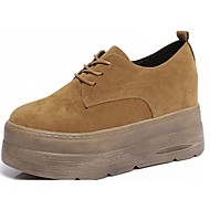 cheap Women's Oxfords-Women's Shoes Suede Fall Comfort Oxfords Creepers Round Toe Lace-up for Black / Beige / Brown