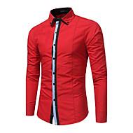 Pánské Jednobarevné Proužky Běžné/Denní Velké velikosti Čínské vzory Košile Polyester Košilový límec Dlouhý rukáv Střední
