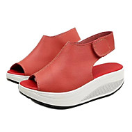 cheap Women's Shoes-Women's Shoes PU Spring Summer Comfort Sandals Platform Round Toe Hook & Loop for Office & Career Outdoor White Black Yellow Red