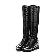 Damen Schuhe Künstliche Mikrofaser Polyurethan Herbst Winter Komfort Modische Stiefel Stiefel Keilabsatz Runde Zehe Reißverschluss