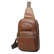 Man Tassen Alle seizoenen PU Sling Shoulder Bag voor Winkelen Causaal Zwart Koffie Bruin