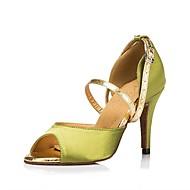 billige Sko til latindans-Dame Latin Sateng Sandaler Høye hæler Profesjonell Spenne Kustomisert hæl Grønn Kustomisert hæl Kan spesialtilpasses
