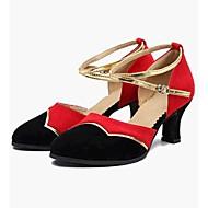 billige Moderne sko-Dame Moderne Velourisert Tekstil Høye hæler Trening Kubansk hæl Svart/Rød Kan spesialtilpasses