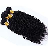 Virgem Cabelo Brasileiro Cabelo Bundle Kinky Curly Extensões de cabelo 3 Peças Preto