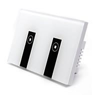 baratos Renovando-Interruptor inteligente 2 gangue google casa amazon alexa controle de toque com interruptor controle wi-fi controle de voz de vidro abs