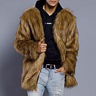 Ανδρικά Καθημερινά Φθινόπωρο / Χειμώνας Μεγάλα Μεγέθη Κανονικό Γούνινο παλτό, Μονόχρωμο Λαιμόκοψη V Μακρυμάνικο Ψεύτικη Γούνα Καφέ XL / XXL / XXXL