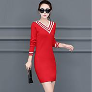 Mujer Chic de Calle Algodón Corte Bodycon Punto Vestido Bloques Mini Escote en Pico Rojo