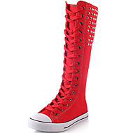 cheap Women's Boots-Women's Shoes Canvas Winter Fall Fashion Boots Boots Creepers Knee High Boots Rivet for Casual Party & Evening White Black Red