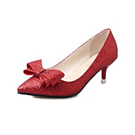Femme Chaussures Paillette Printemps Automne Nouveauté Confort Chaussures à Talons Talon Aiguille Bout pointu Noeud Pour Habillé Or Noir