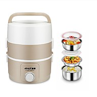 Three Large-Capacity Pluggable Insulation Lunch Box Heated Stainless Steel Steamed Rice Three layers