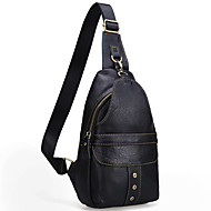 Men Bags Cowhide Sling Shoulder Bag Zipper for Event/Party Outdoor All Seasons Black Coffee Brown
