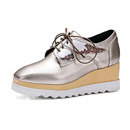 Feminino Sapatos Couro Ecológico Primavera Outono Conforto Oxfords Anabela Ponta quadrada Cadarço Para Dourado Preto
