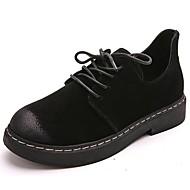 Naiset Kengät PU Syksy Talvi Comfort Oxford-kengät Matala korko Pyöreä kärkinen Solmittavat Käyttötarkoitus Kausaliteetti Musta Harmaa