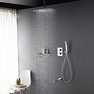 お買い得  割引蛇口-コンテンポラリー シャワーシステム レインシャワー ハンドシャワーは含まれている サーモスタットタイプ 真鍮バルブ 三つ 二つのハンドル三穴 クロム, シャワー水栓