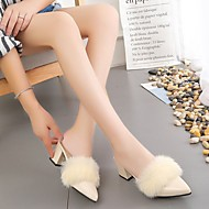 Damen Schuhe PU Herbst Komfort Cloggs & Pantoletten Blockabsatz Spitze Zehe Für Normal Schwarz Beige