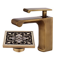 cheap Bathroom Sink Faucets-Centerset Waterfall Ceramic Valve Single Handle One Hole Antique Copper, Bathroom Sink Faucet