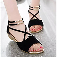Women's Shoes Nubuck leather PU Spring Summer Comfort Sandals For Casual Blue Red Brown Beige Black