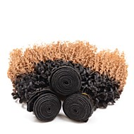 Virgem Cabelo Peruviano Cabelo Humano Ondulado Ondas Leves Extensões de cabelo 3 Peças Preto / louro da morango