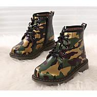 tanie Obuwie chłopięce-Dla chłopców Buty Derma Zima Jesień Obuwie w stylu wojskowym Comfort Buciki na Casual Army Green Granatowy Burgundowy