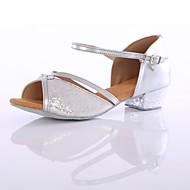 baratos Sapatilhas de Dança-Mulheres Sapatos de Dança Latina Paetês / Materiais Customizados Salto Salto Personalizado Personalizável Sapatos de Dança Dourado / Prata