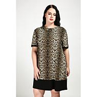 Dame Plusstørrelser Skift Kjole - Leopard