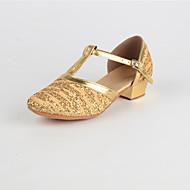 billige Kustomiserte dansesko-Dame Moderne sko Paljett Lav hæl Kan spesialtilpasses Dansesko Gull / Rød / Innendørs