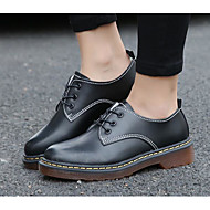 נשים נעליים PU אביב סתיו נוחות נעלי אוקספורד עבור קזו'אל שחור חום כהה בורדו