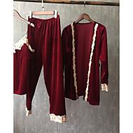 Vネック スーツ パジャマ 女性用 ソリッド