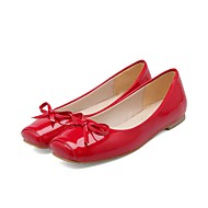 tanie Small Size Shoes-Damskie Obuwie Derma Wiosna Jesień Lekkie podeszwy Zabawne Buty płaskie Plac Toe Kokarda na Casual Impreza / bankiet Black Beige Czerwony