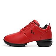 baratos Sapatilhas de Dança-Unisexo Tênis de Dança Courino Têni Recortes Salto Meia Pata Personalizável Sapatos de Dança Vermelho
