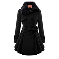 cheap -Women's Day Clutches / Daily Wear / Date Classic & Timeless Winter Long Coat, Solid Colored Peaked Lapel Long Sleeve Cotton / Polyester / Nylon Vintage Style / Flash Dark Blue / Red / Camel XXXL