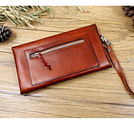 Men Bags Cowhide Wallet Buttons Zipper for Event/Party Formal All Seasons Coffee