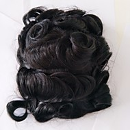 Replacement Systems Swiss Lace and pu Poly Side and Back Natural Color Hair Toupee Mens Hair Piece Stock 130% Density