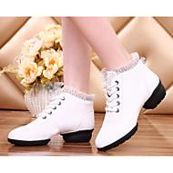 Women's Dance Sneakers Real Leather Heel Practice Platform White Beige Red