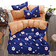 Duvet Cover Sets Solid 4 Piece Reactive Print 4pcs (1 Duvet Cover, 1 Flat Sheet, 2 Shams)