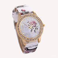 Mulheres Relógio de Moda Relógio de Pulso Quartzo Couro Banda Branco Vermelho Marrom Cinza