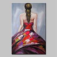 billiga Människomålningar-Hang målad oljemålning HANDMÅLAD - Människor Abstrakt / Moderna Inkludera innerram / Sträckt kanfas