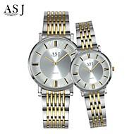 ASJ Casal Relógio de Moda Relógio de Pulso Japanês Quartzo Aço Inoxidável Banda Prata