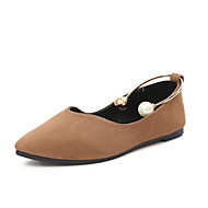 cheap Women's Flats-Women's Shoes PU Spring Summer Comfort Flats Flat Heel Pointed Toe Hollow-out For Casual Black Army Green Blushing Pink Camel