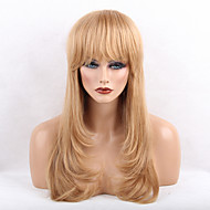 Women Human Hair Capless Wigs Beige Blonde//Bleach Blonde Honey Blonde Black Long Natural Wave