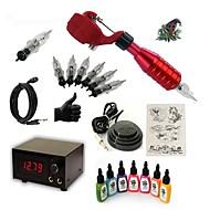 baratos Kits de Tatuagem para Iniciantes-Máquina de tatuagem Conjunto de Principiante - 1 pcs máquinas de tatuagem com 7 x 15 ml tintas de tatuagem, Profissional 15 W 1xMáquina