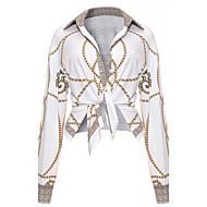 Majica Ženske,Seksi Vintage Izlasci Klub Print-Dugih rukava Kragna košulje-Proljeće Jesen Srednje Poliester