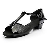 Žene Cipele za latino plesove Sitne šljokice Štikle Niska potpetica Moguće personalizirati Plesne cipele Crn / Unutrašnji / Vježbanje