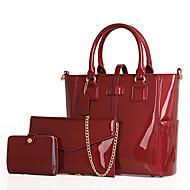 Mulher Bolsas Todas as Estações Couro Legítimo Conjuntos de saco 3 Pcs Purse Set Ziper para Casual Azul Preto Vermelho Roxo