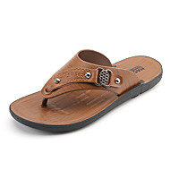 Men's Shoes PU Fabric Spring Fall Comfort Sandals For Casual Dark Brown Brown