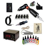 halpa -Starter Tattoo Kit 1 x pyörivä tatuointikone viivoihin ja varjostukseen Tattoo Machine 15 7 × 15ml Tattoo Ink 5 x kertakäyttöinen kahva